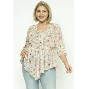 Feminine Pink and Cream Floral Top